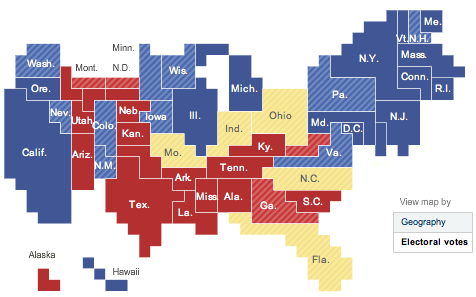 The map shows the surface of each state proportional to electoral college